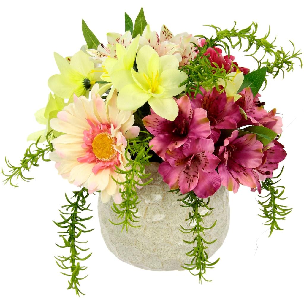I.GE.A. Kunstblume »Arrangement Blüten«, Topf aus Keramik