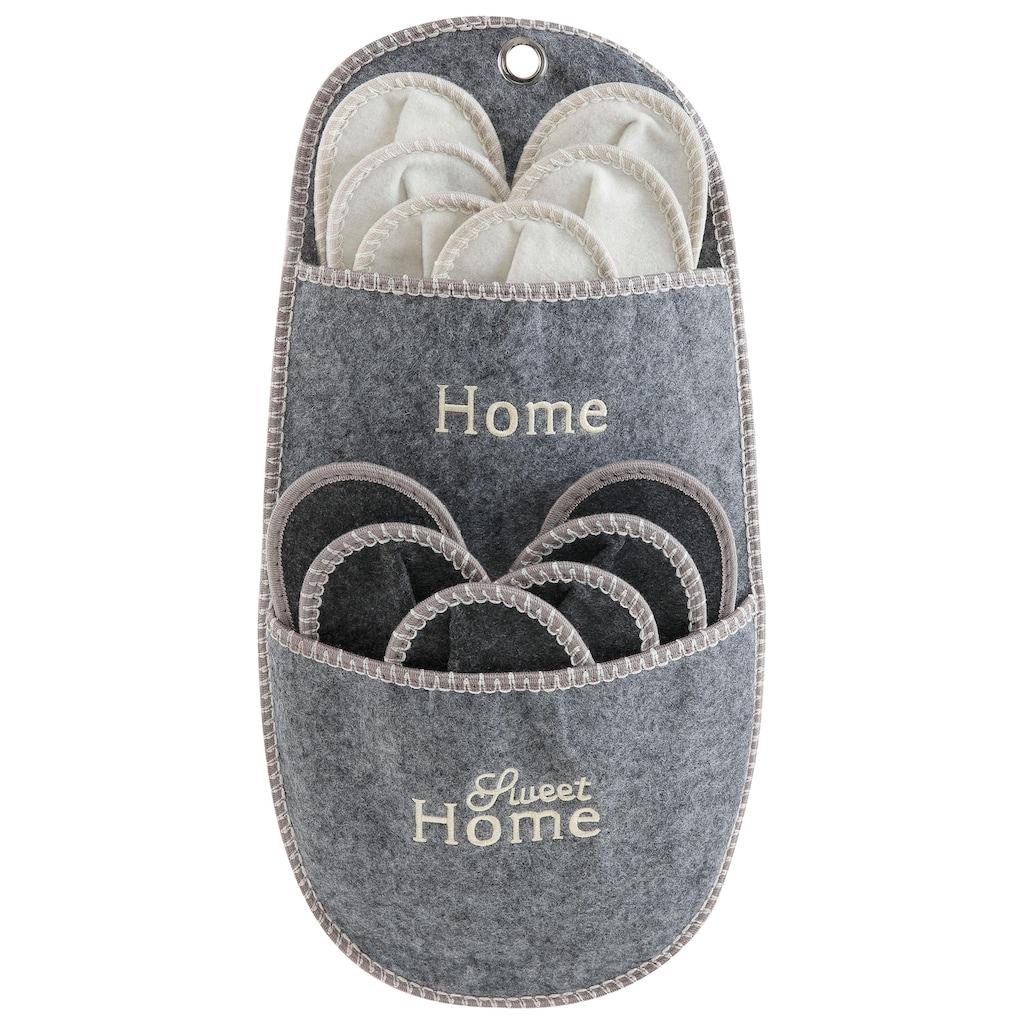 Home affaire Aufbewahrungstasche »Home Sweet Home«, (Set, 7 St.), Gästepantoffel-Set