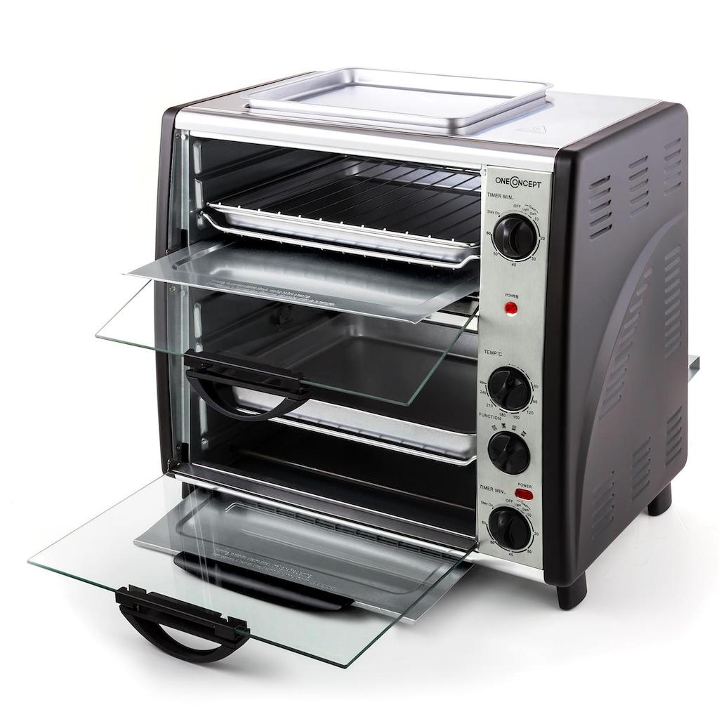 ONECONCEPT Doppel-Backofen mit Grillplatte 42L Tischbackofen Drehspieß