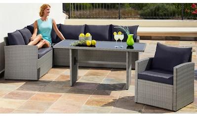 MERXX Loungeset »Chicago«, 14 - tlg., Eckbank, Sessel, Tisch 145x70 cm, Polyrattan, grau kaufen