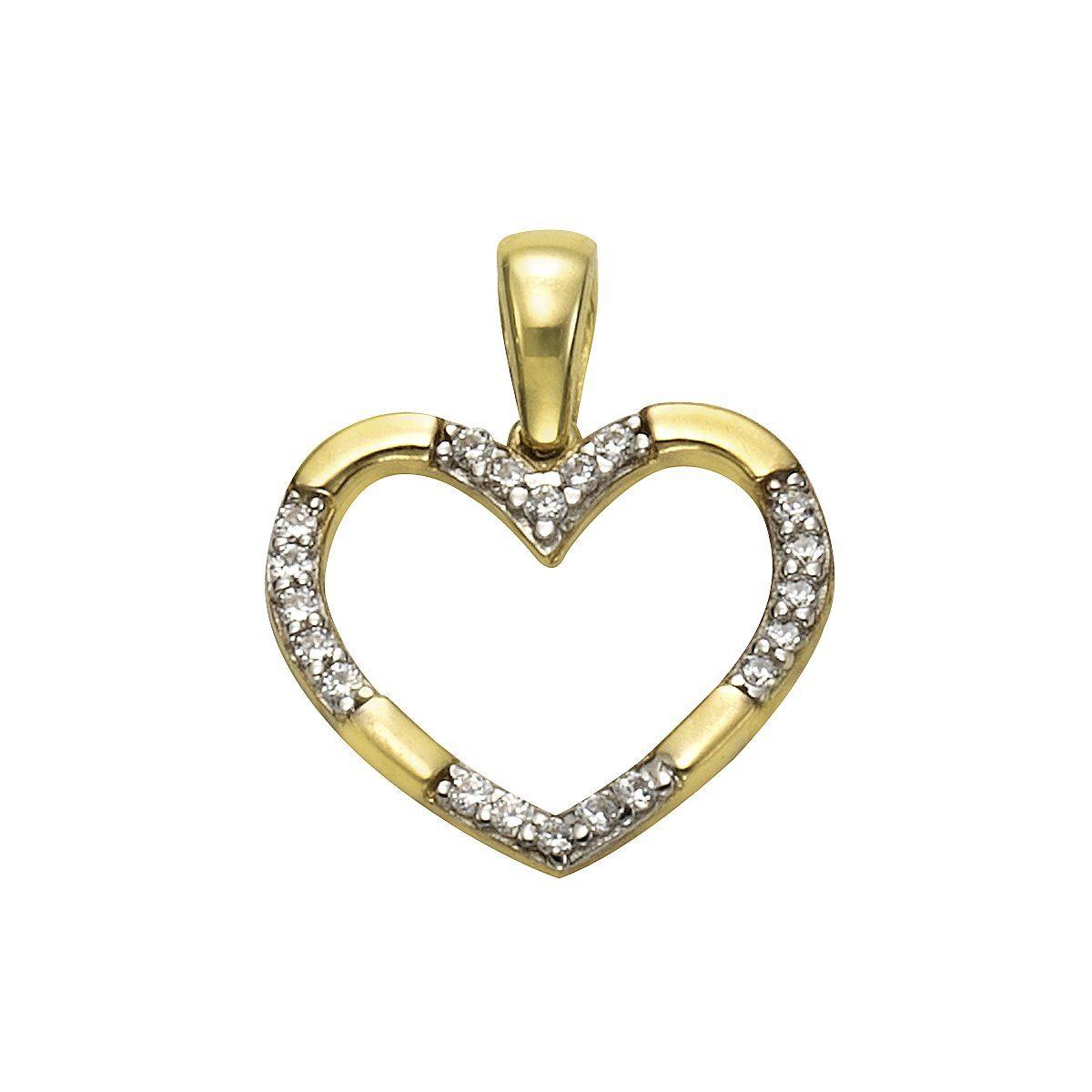 VIVANCE Anhänger 333/- Gelbgold zweifarbig Herz | Schmuck > Halsketten > Herzketten | Bunt | Vivance