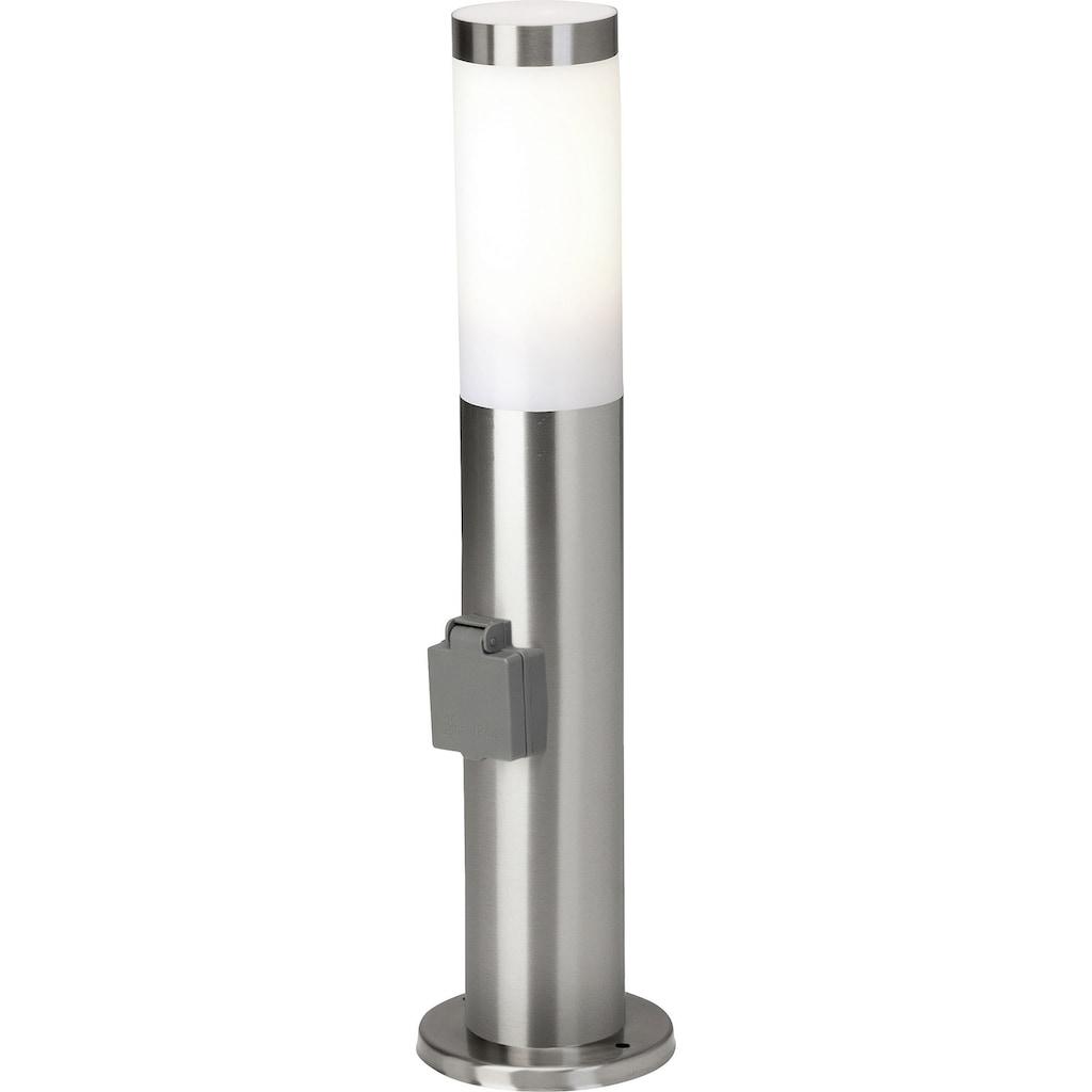 Brilliant Leuchten Außen-Stehlampe, E27, Chorus Außensockelleuchte Steckdose edelstahl