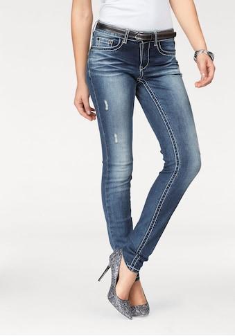 Arizona Skinny-fit-Jeans »mit Kontrastnähten und Pattentaschen«, Low Waist kaufen