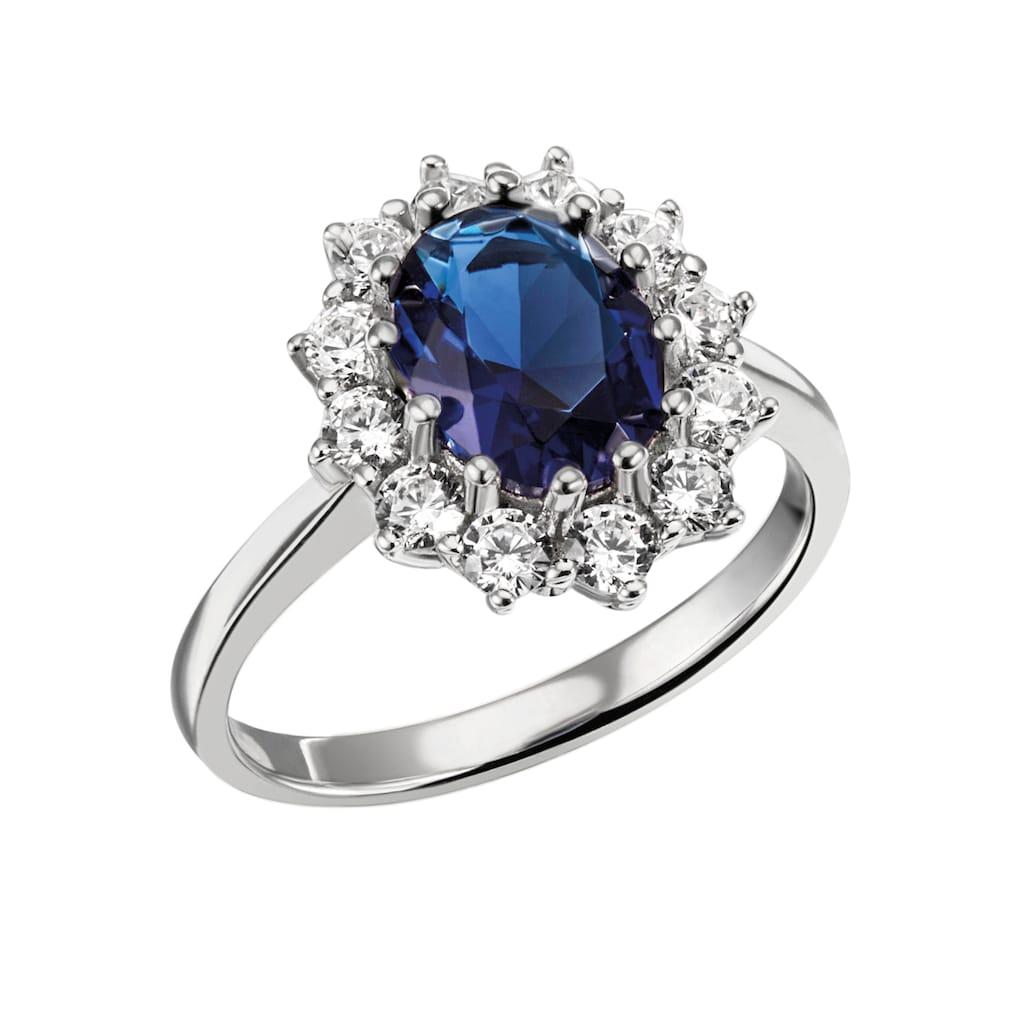 Firetti Fingerring »königliches Design, rhodiniert«, mit Zirkonia und einem Glasstein