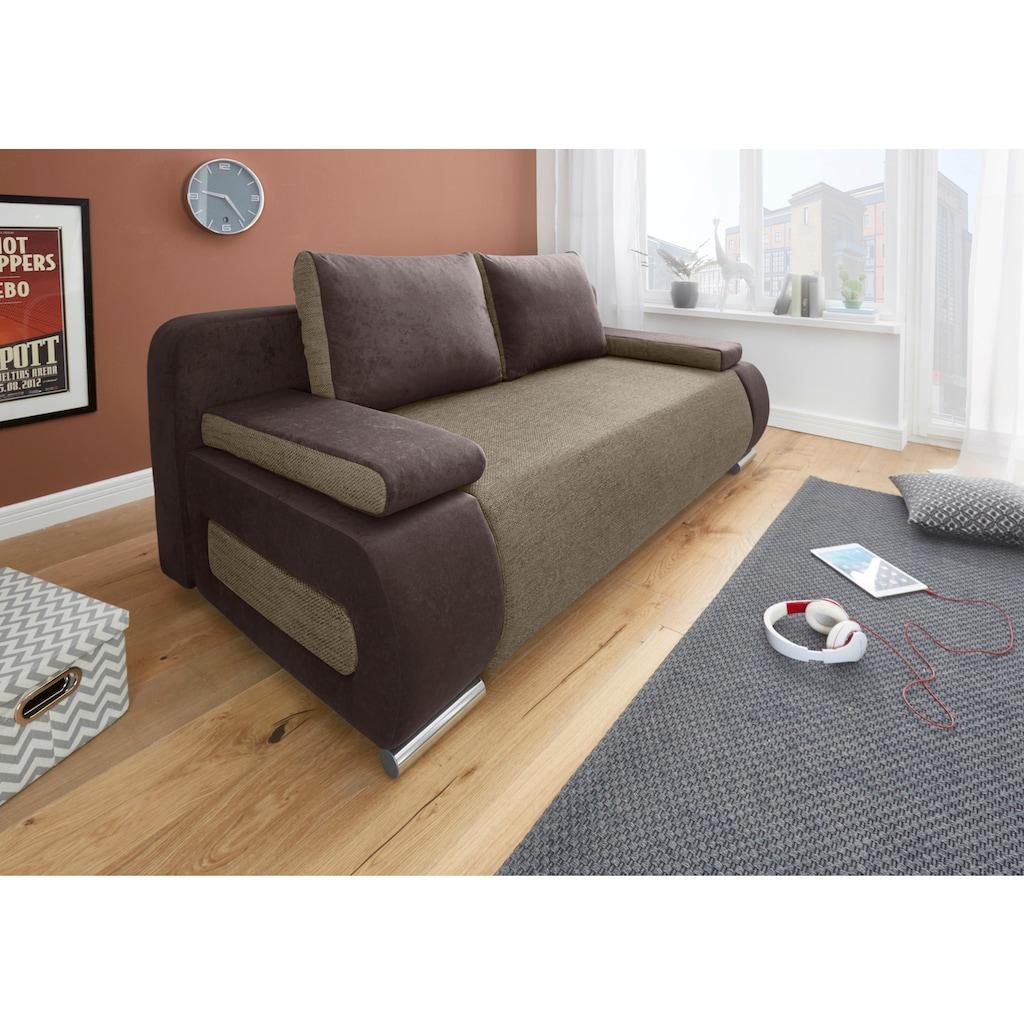 COLLECTION AB Schlafsofa, mit Federkern, inklusive Bettfunktion und Bettkasten, mit losen Armlehn- und Rückenkissen, frei im Raum stellbar