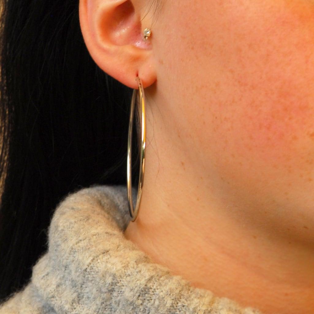 goldmaid Paar Creolen, 925 Sterlingsilber glatt Steckverschluss 60 mm