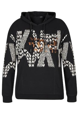 LeComte Kapuzensweatshirt, mit abstraktem Muster und Rippbündchen an den Ärmeln kaufen
