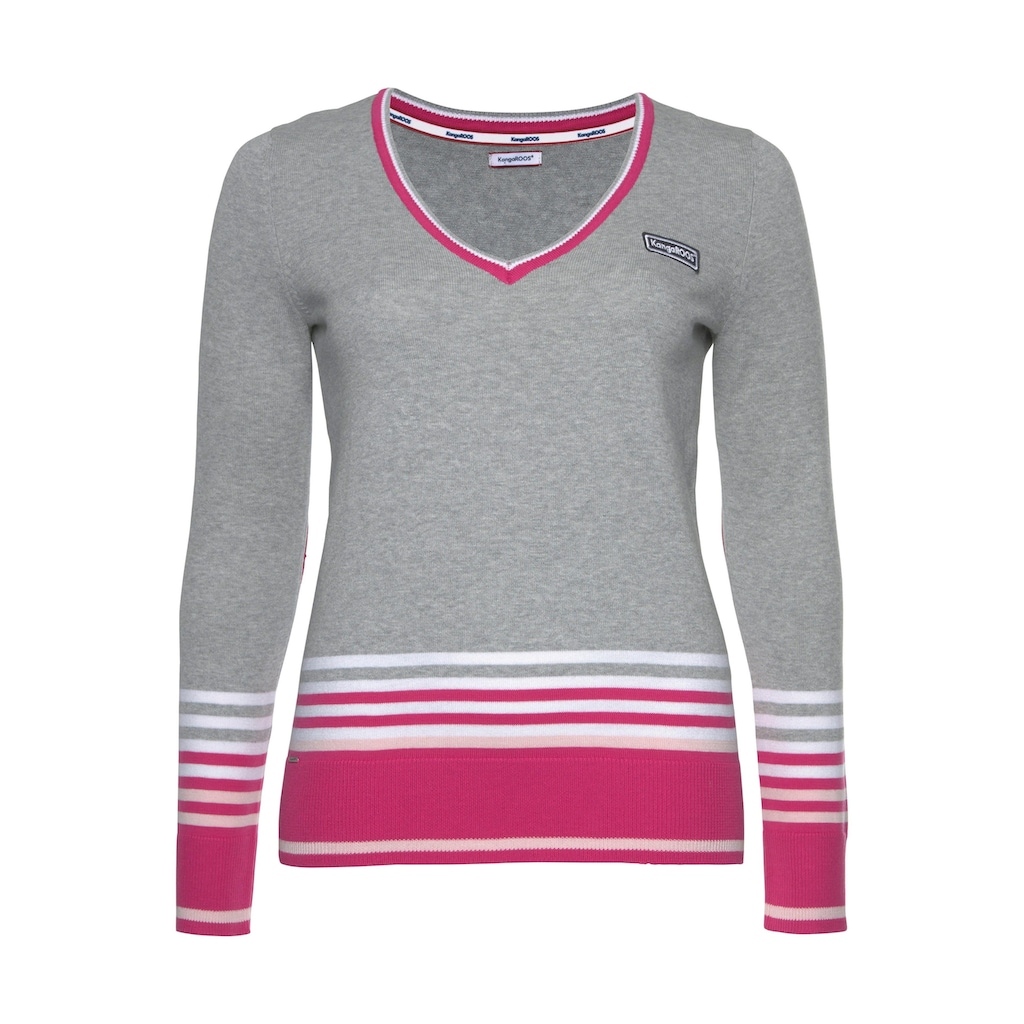 KangaROOS V-Ausschnitt-Pullover, im tollen Streifen-Farb-Mix