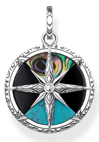 THOMAS SABO Kettenanhänger »Kompass Klein, PE833-980-7«, mit Perlmutt, Onyx und imit. Türkis kaufen
