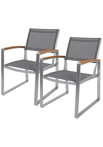 Garden Pleasure Gartenstuhl »AVA«, 2er Set, Kunststoff/Non-Wood, grau kaufen