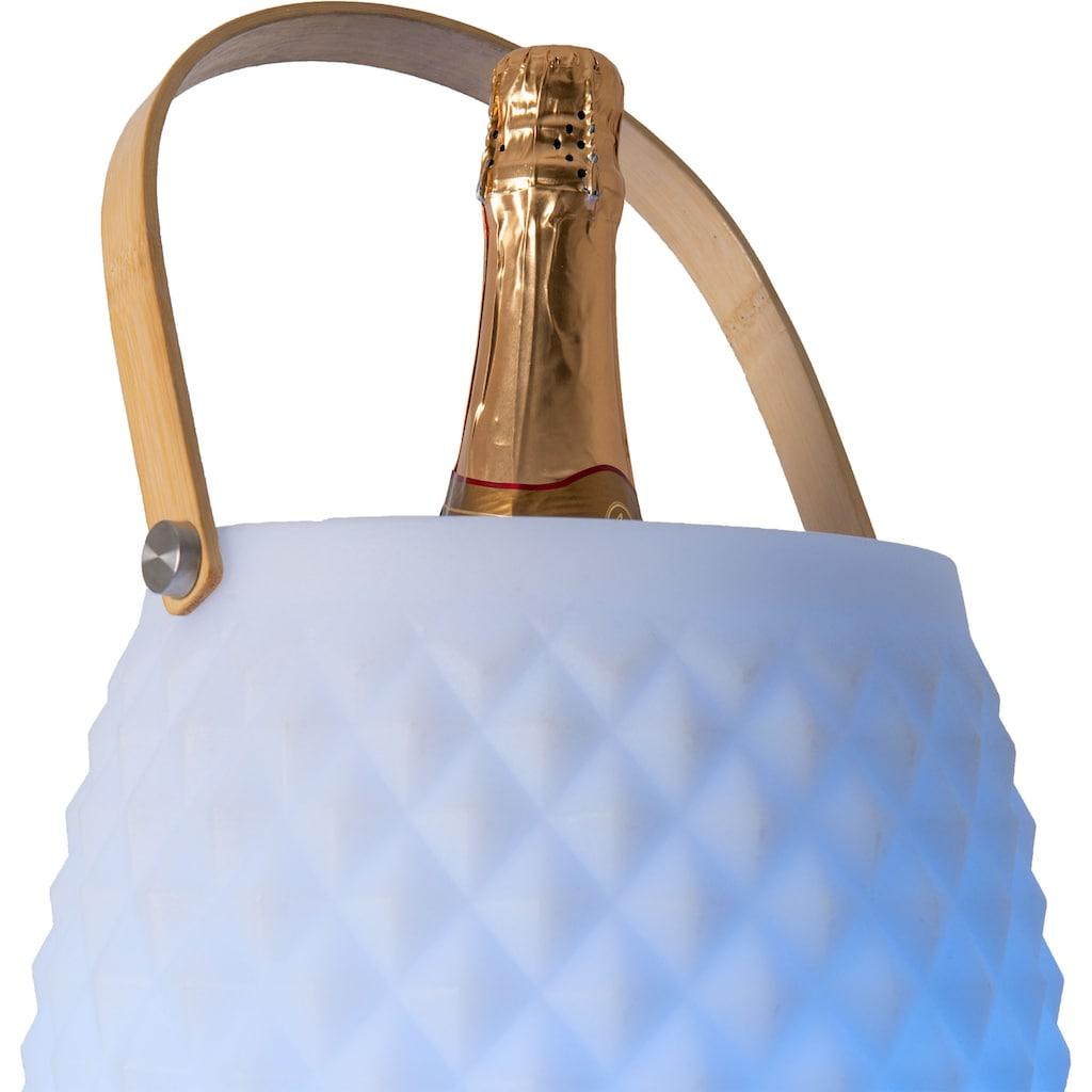 näve LED Außen-Stehlampe »LED Deko-Leuchte«, LED-Modul, Farbwechsler, Sektkühler, mit Bluetooth Lautsprecher, Fernbedienung, Bambusgriff