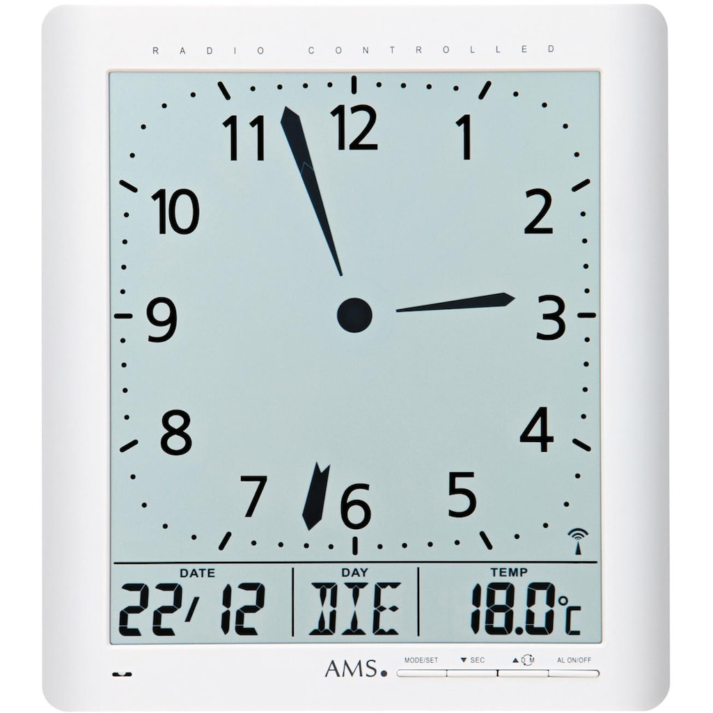 AMS Funkwanduhr »F5896«, mit Alarm
