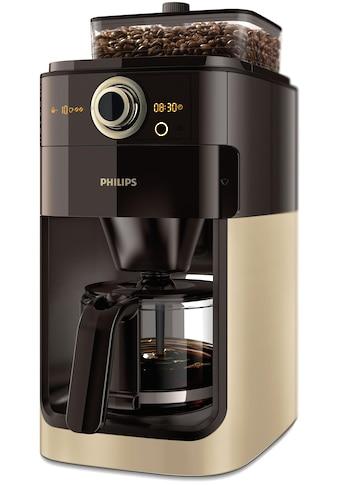 Philips Kaffeemaschine mit Mahlwerk »Grind & Brew HD7768/90«, aromaversiegeltes Bohnenfach, champagner/schwarz kaufen