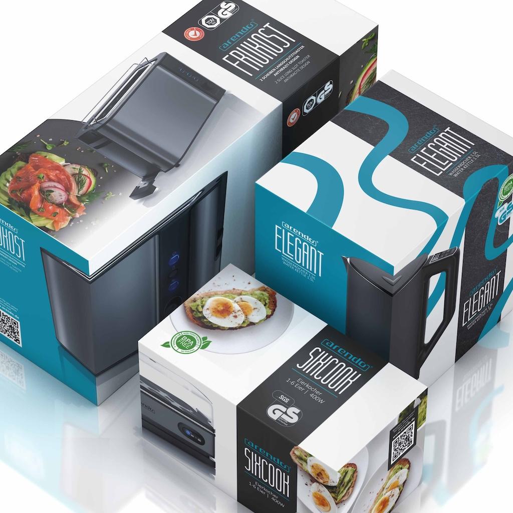Arendo Frühstücks-Set »Wasserkocher / Langschlitz Toaster / Eierkocher«