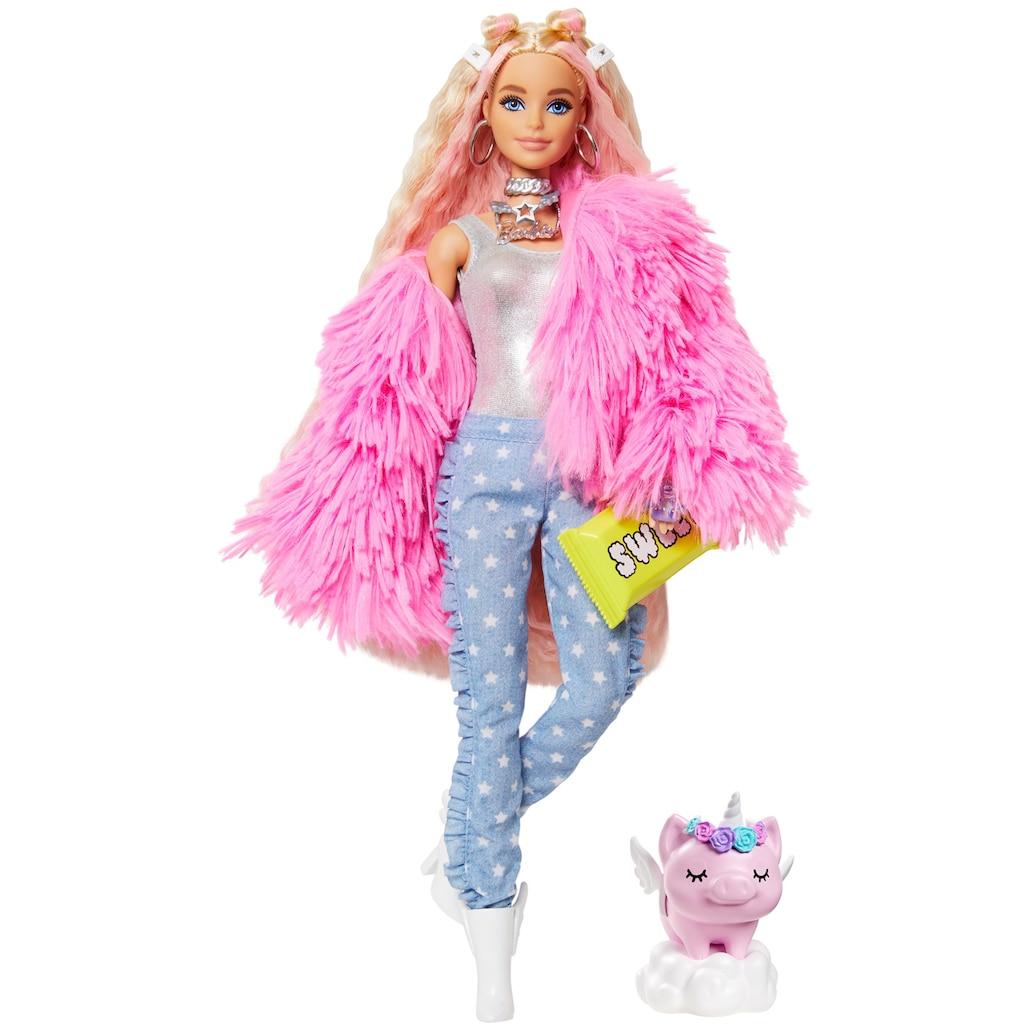 Barbie Anziehpuppe »EXTRA«, blond, mit flauschiger rosa Jacke