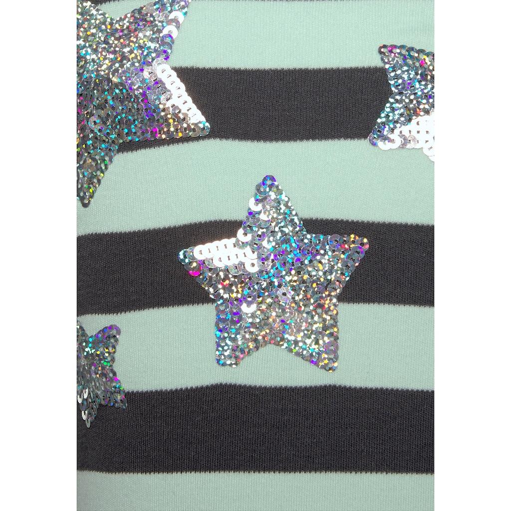 KIDSWORLD Longshirt, mit Glitzer Sternen aus Pailletten