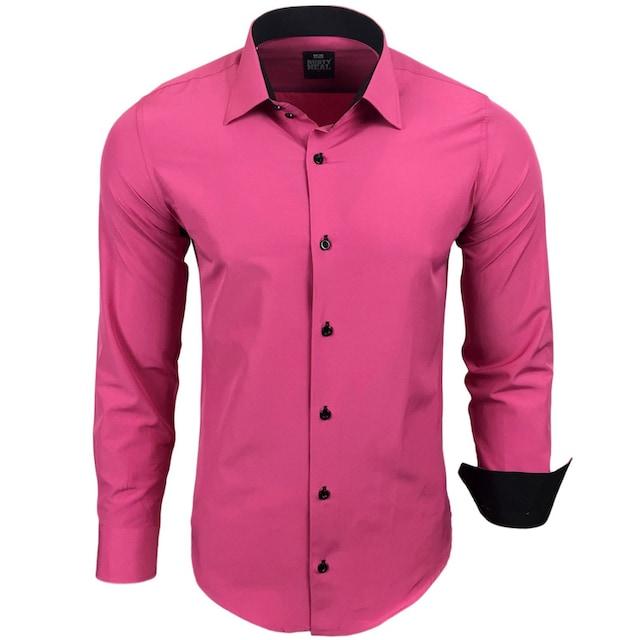Rusty Neal Langarmhemd mit farblich abgesetzten Elementen