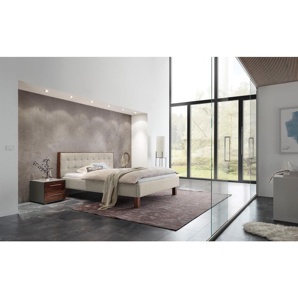 HASENA Polsterbett »Noah«, Fußfarbe Nussbaum, Komforthöhe, Fußhöhe 20 cm