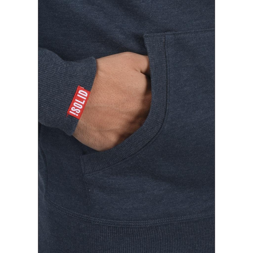 Solid Kapuzensweatjacke »Benn«, Sweatshirtjacke mit hochabschließendem Kragen