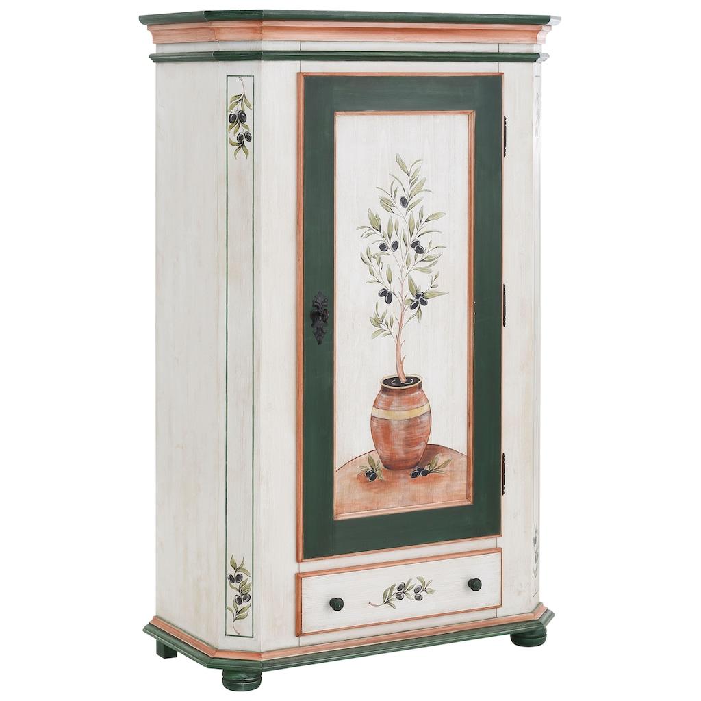 Premium collection by Home affaire Garderobenschrank »Olive«, mit schönen Ornamenten und einem besonderen handgemalten Olivenbaum auf der Türfront