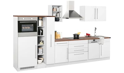 HELD MÖBEL Küchenzeile »Samos«, mit E - Geräten, Breite 350 cm mit Stangengriffen aus Metall kaufen