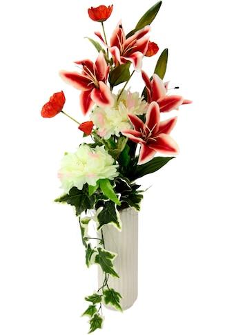 I.GE.A. Kunstblume »Arrangement Lilie/Pfingstrose«, Vase aus Keramik kaufen