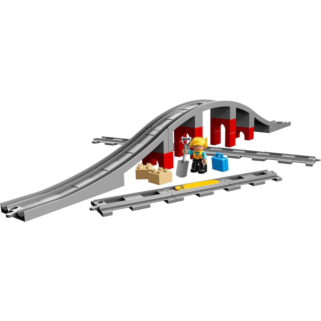 LEGO® Konstruktionsspielsteine »Eisenbahnbrücke und Schienen (10872), LEGO® DUPLO® Town«, (26 St.), Made in Europe