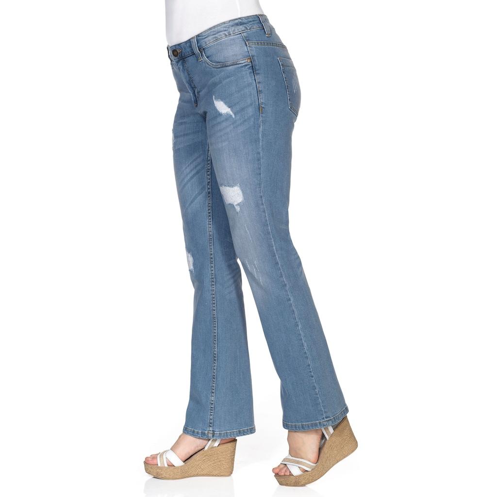 Sheego Bootcut-Jeans, mit Destroyed- und Used-Effekten