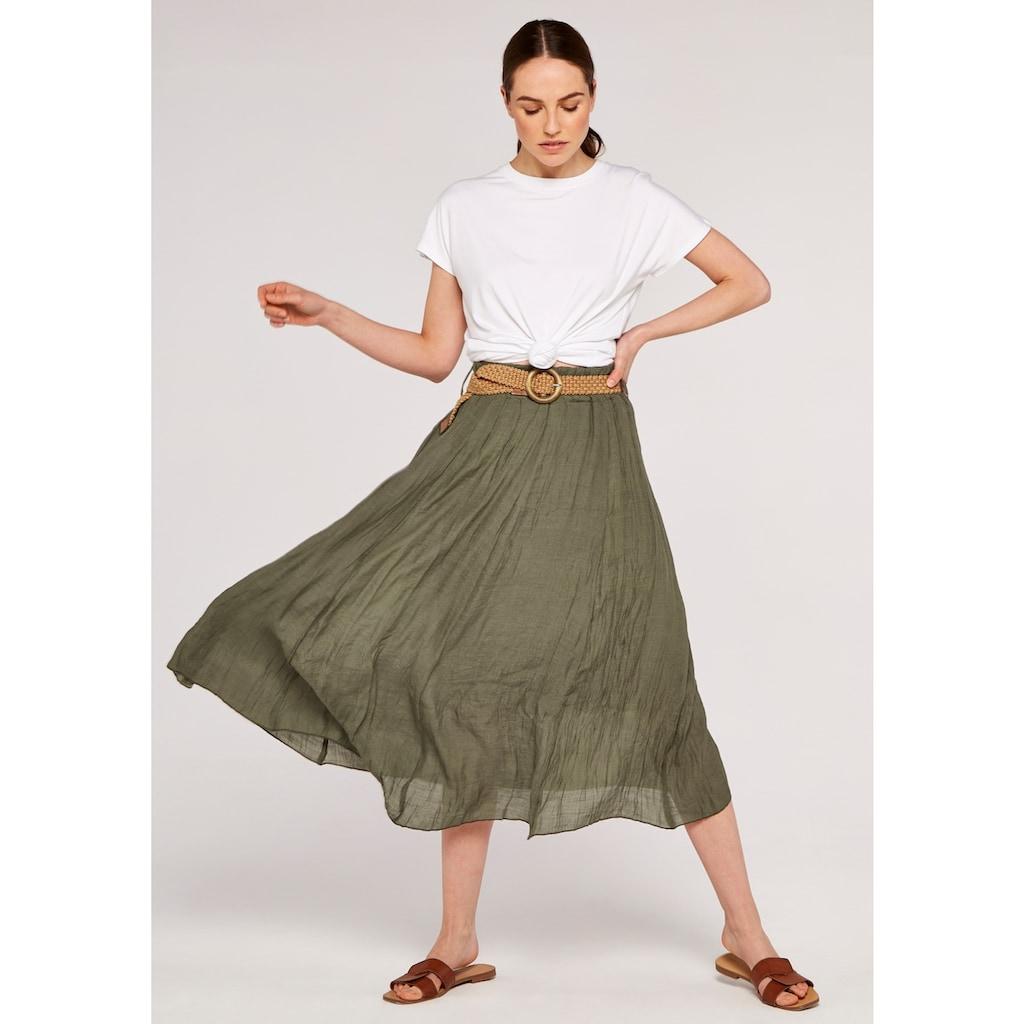 Apricot Maxirock »Shimmer Crinkle Belted Skirt«, (mit Gürtel), mit Flechtgürtel