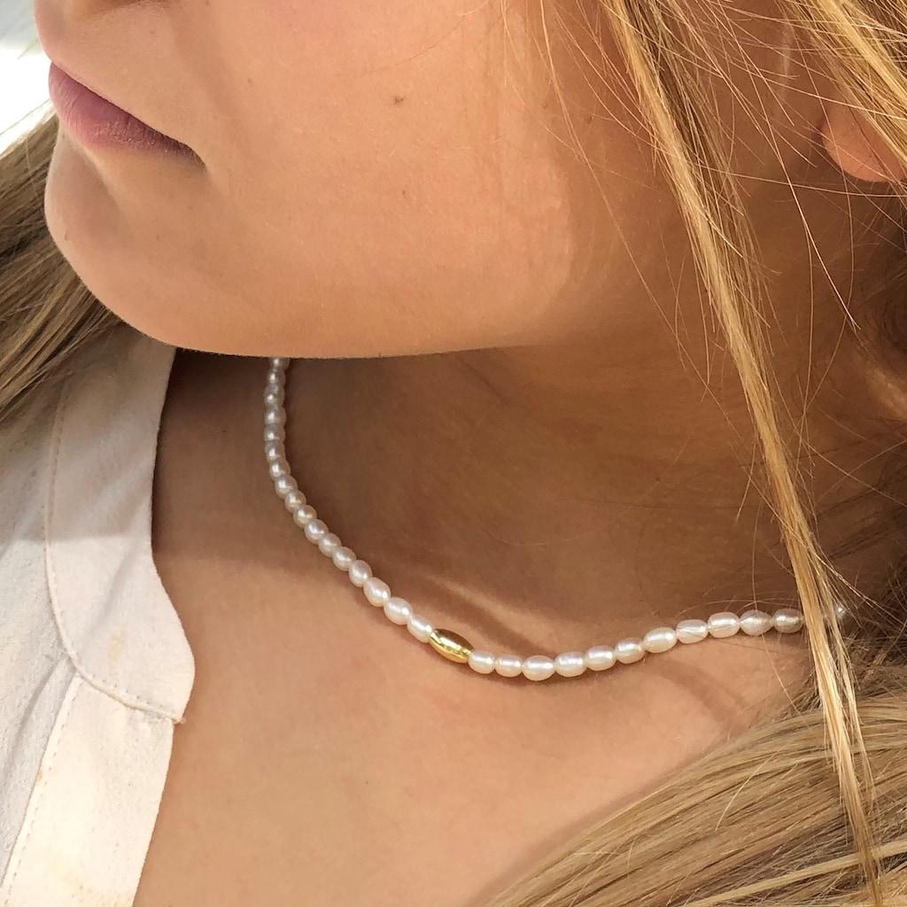 AILORIA Perlenkette »SANAKO gold/weiße Perle«, 925 Sterling Silber vergoldet Süßwasserperle