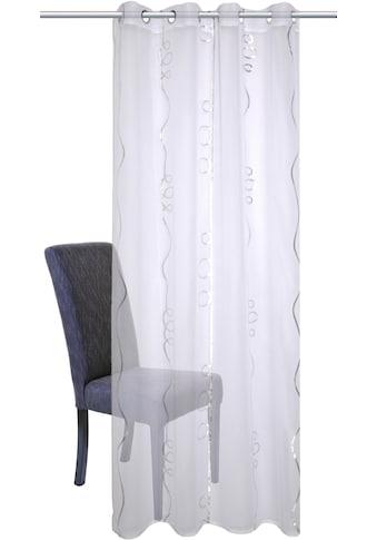 HOME WOHNIDEEN Gardine »LOOPY«, HxB: 245x140, Ösenschal mit Silberdruck kaufen