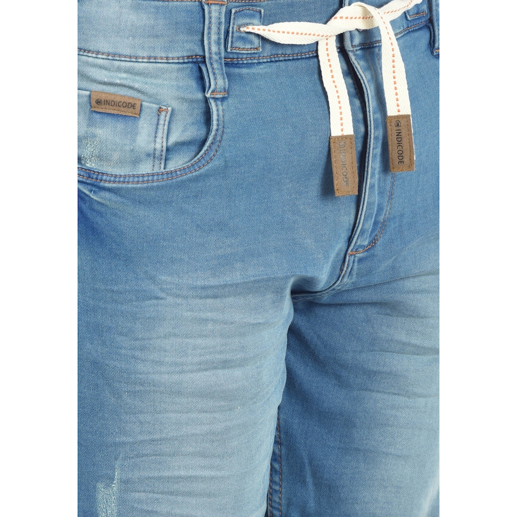 Indicode Jeansshorts »Lloyd«, kurze Hose mit Kontrastkordeln