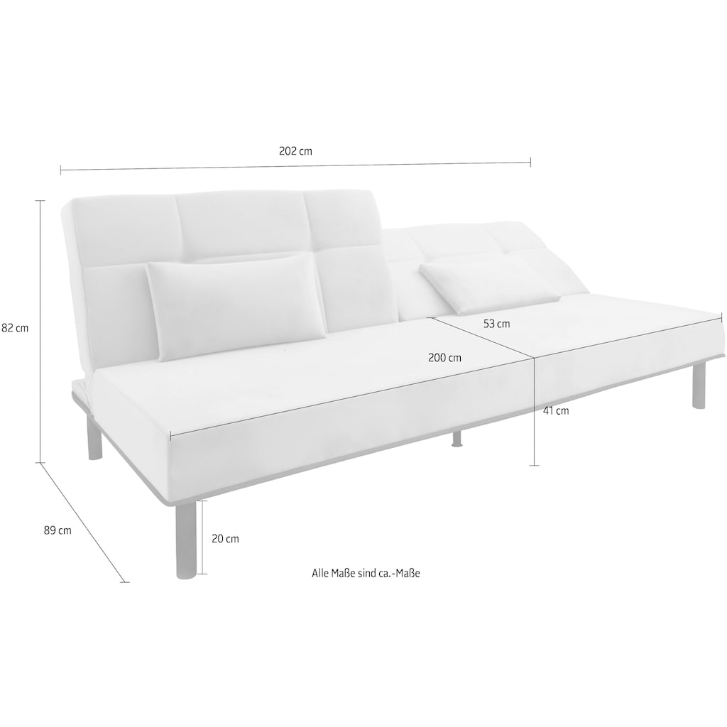 COLLECTION AB Sofa, mit Bettfunktion, elegante Steppung im Rückenteil, inklusive 2 Nierenkissen, stylische schwarze Metallfüße