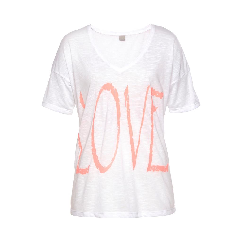 Bench. V-Shirt, mit Neonprint