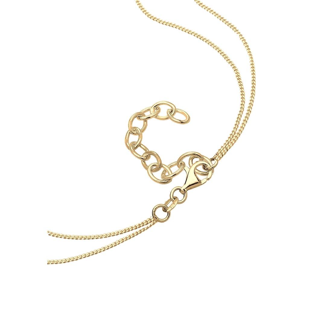 Elli Gliederkette »Kreuz Layer Mondstein Geo 925 Sterling Silber«