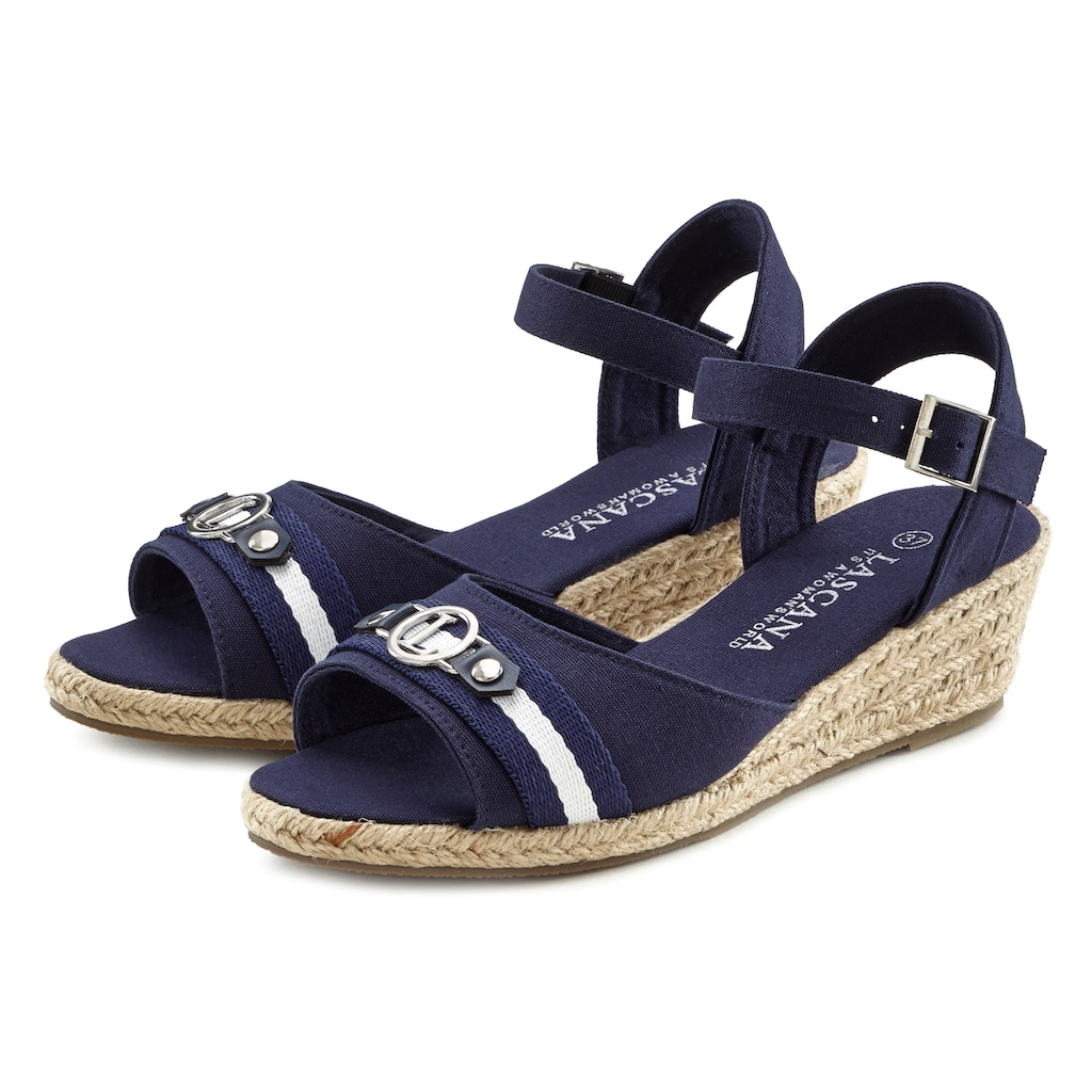 LASCANA Sandalette, mit Keilabsatz im maritimen Look