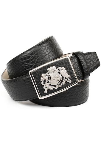 Anthoni Crown Ledergürtel, mit Wappen, rustikale Oberflächen-Prägung kaufen
