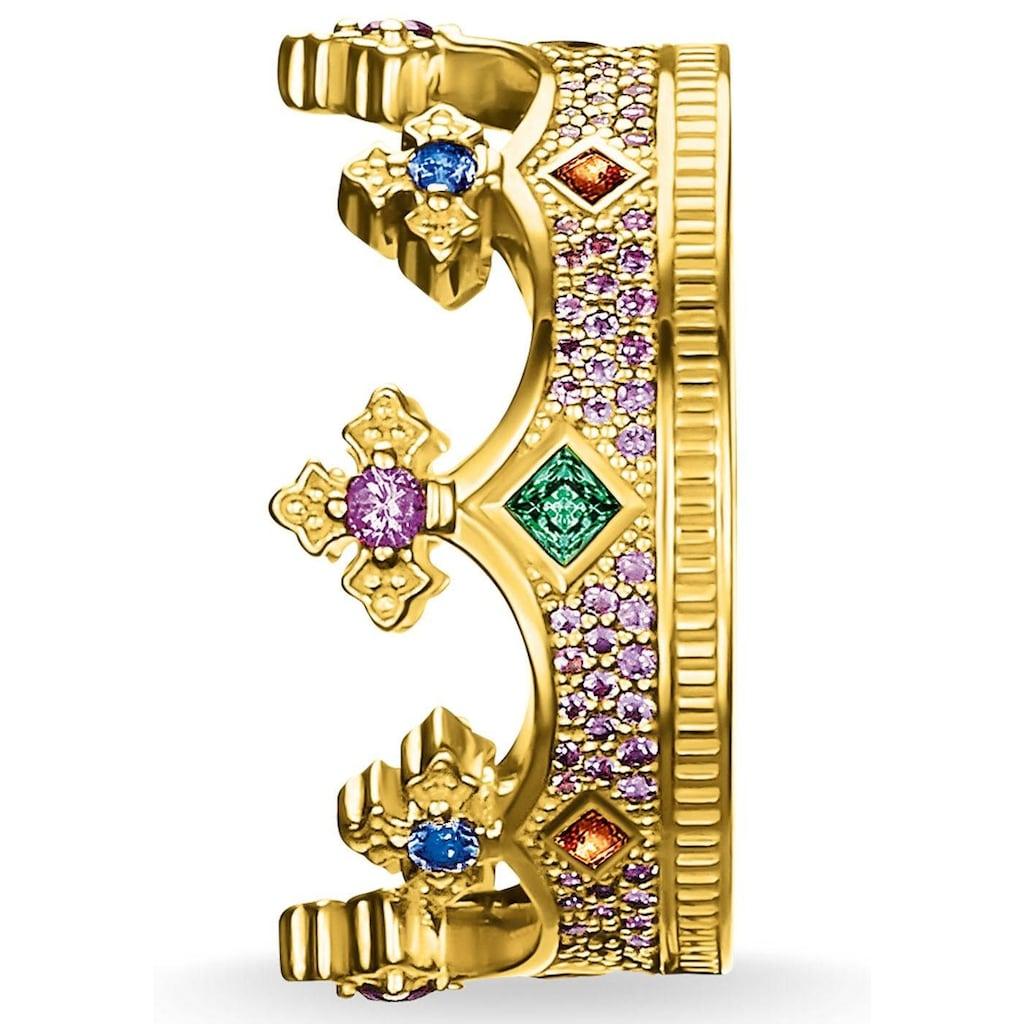 THOMAS SABO Fingerring »Krone Gold, TR2265-973-7-52, 54, 56, 58, 60«, mit Glassteinen und synth. Korund