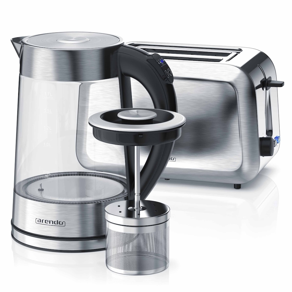 Arendo Frühstücks-Set »Wasserkocher (mit Teesieb) & Toaster«, 2-teilig in Edelstahloptik