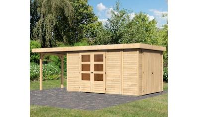 KONIFERA Set: Gartenhaus »Ostsee 6«, BxT: 646x262 cm, mit Anbauschrank und Anbaudach kaufen