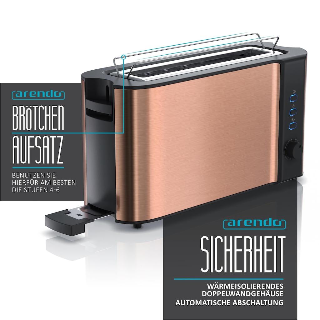 Arendo Automatik 2 Scheiben Langschlitz Toaster im Kupfer Design