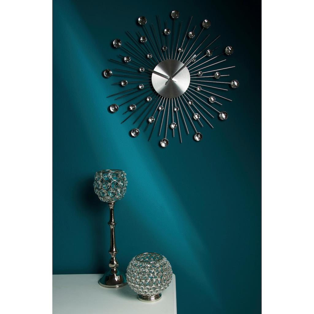 Leonique Wanduhr »Universe«, silberfarben, rund, Ø 50 cm, mit Schmucksteinen