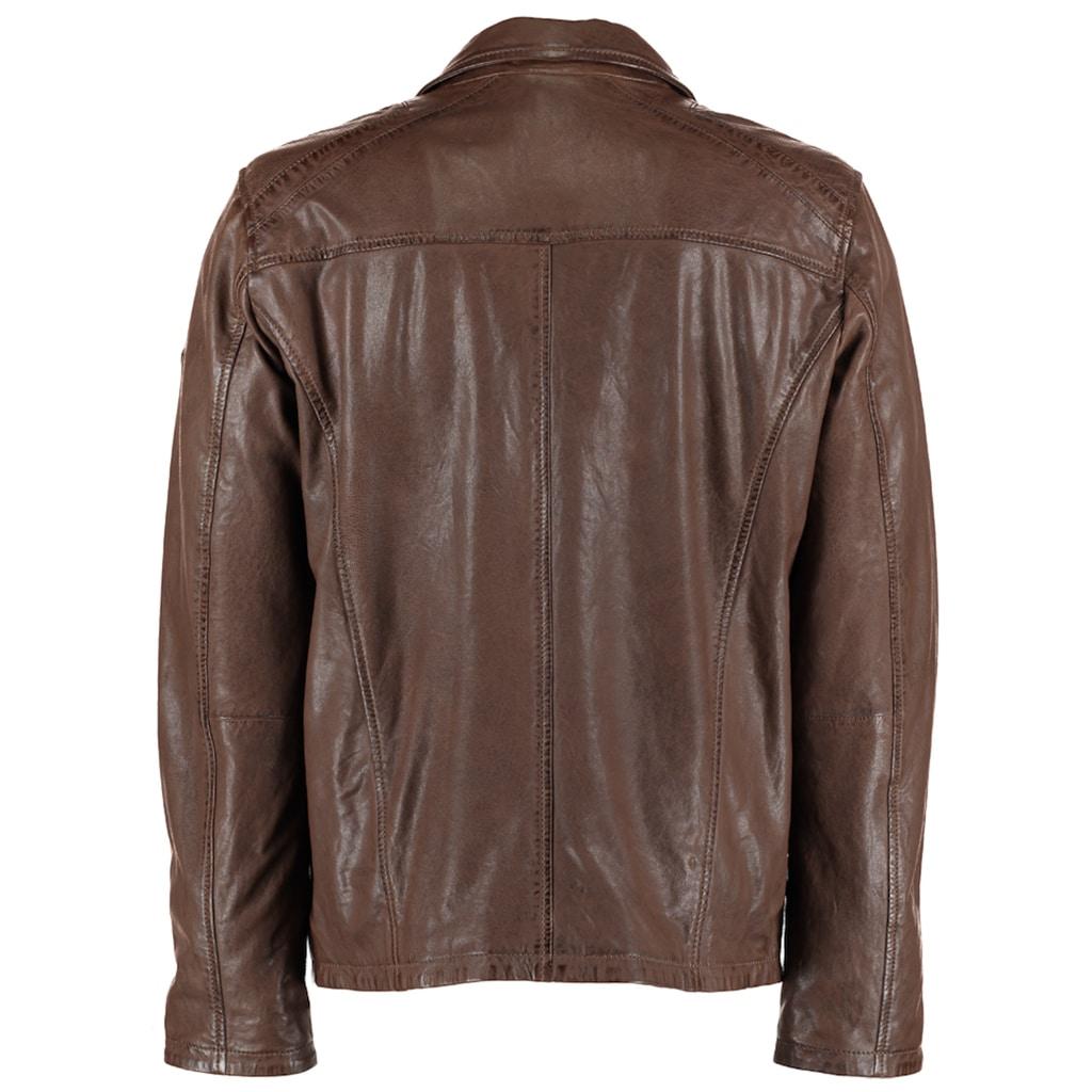 DNR Jackets Herren Lederjacke mit Taschen und Reißverschluss