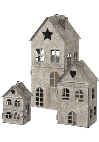 BOLTZE Kerzenlaterne »Kalana«, aus Eisen, lackiert, in Form von weihnachtlichen Häuschen kaufen