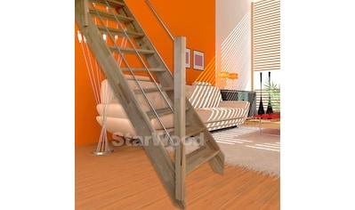 STARWOOD Raumspartreppe »Rhodos«, offene Stufen, gerade, Holz - Edelstahlgeländer links kaufen