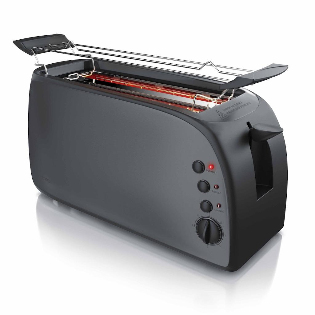 Arendo 4-Scheiben Langschlitz Toaster mit Brötchenaufsatz