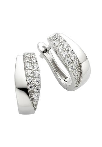 Zeeme Paar Creolen »925/- Sterling Silber Zirkonia weiß«, rhodiniert kaufen
