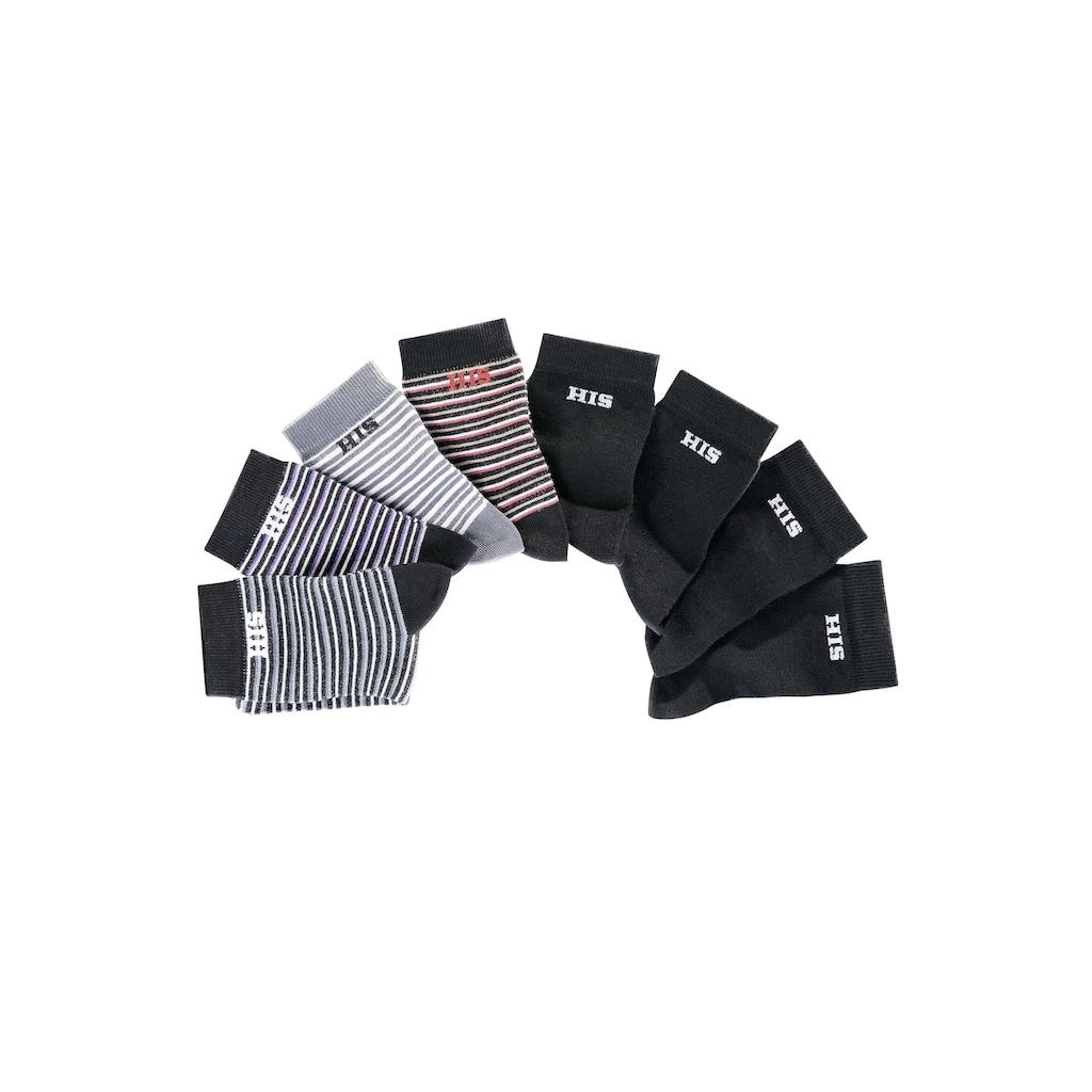 H.I.S Socken, (8 Paar), geringelt und unifarben