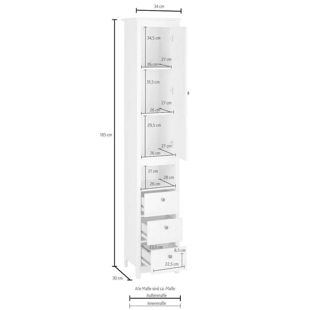 Home affaire Hochschrank »Westa«, Breite 34 cm, Badezimmerschrank aus Massivholz, Kiefernholz, Metallgriffe, 1 Tür und 3 Schubkästen