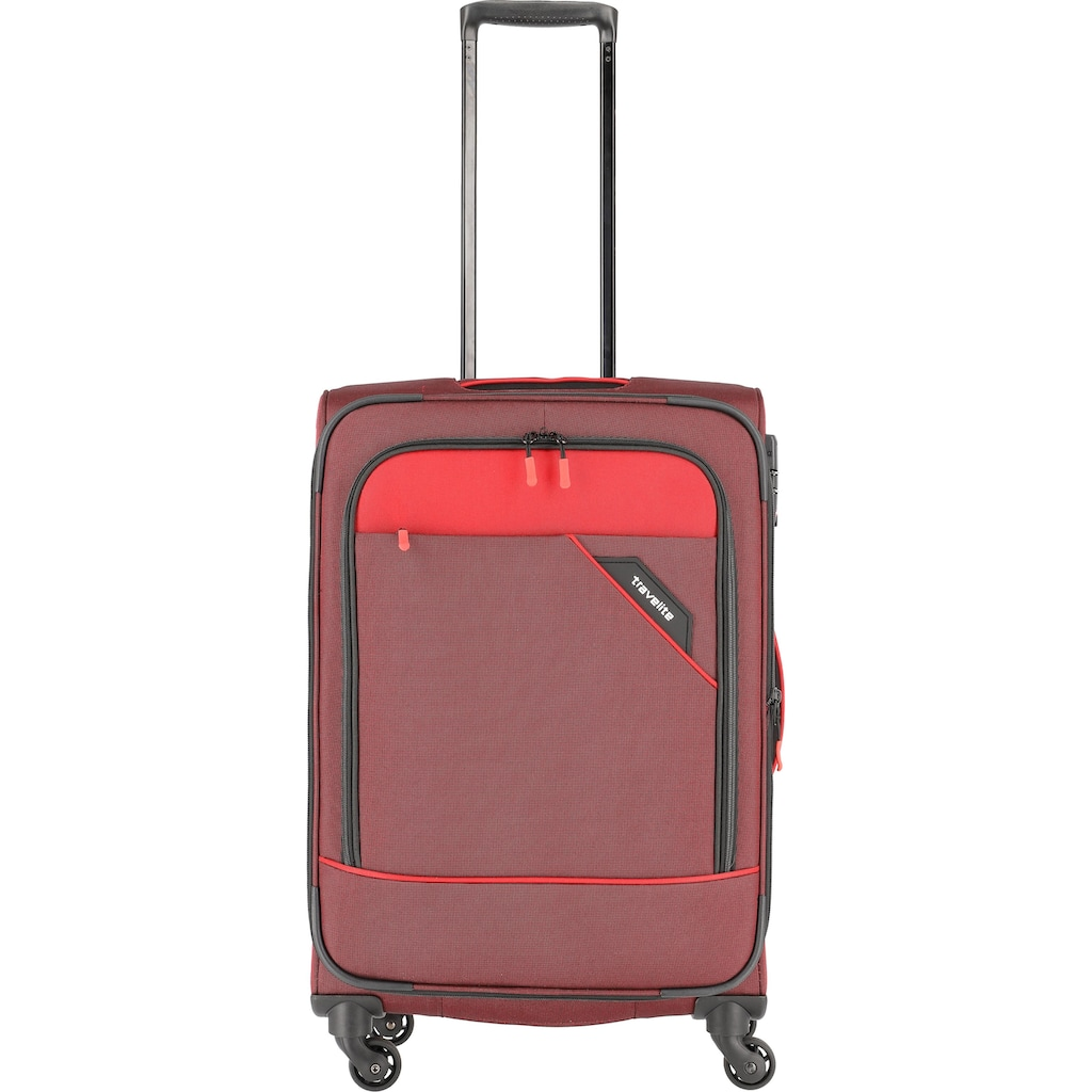 travelite Weichgepäck-Trolley »Derby, 66 cm, rot«, 4 Rollen, mit Volumenerweiterung